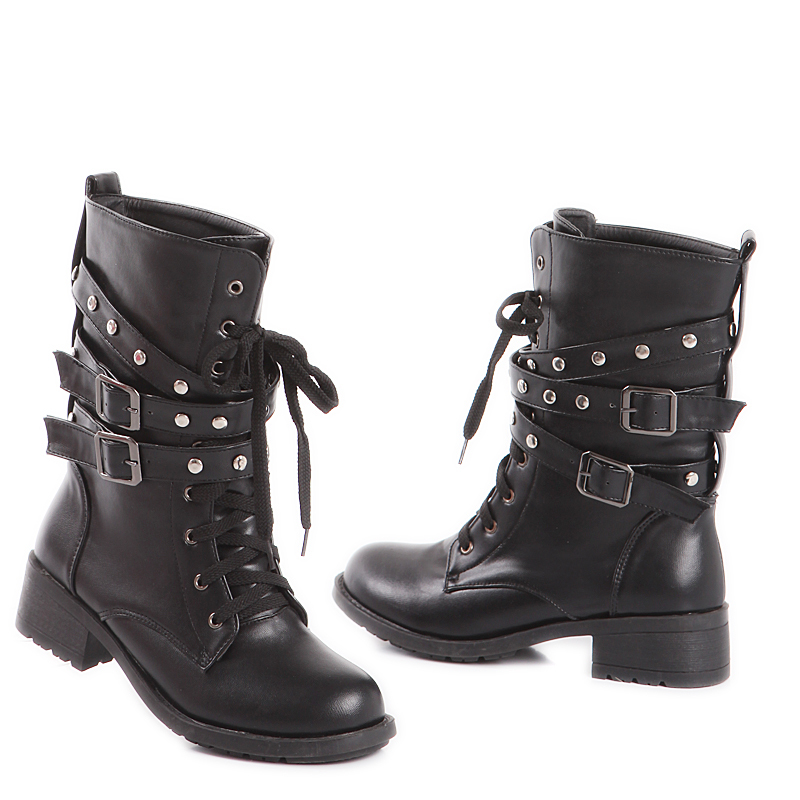 New Autumn Hot Sexy Black Women Combat Ankle Boots Ladies Shoes Med Square Heels Lace up A58-2 Plus Big Size 10 43 brand new hot sales women nude ankle boots red black buckle ladies riding spike shoes high heels emb08 plus big size 32 45 11