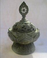 Cinese Old Bronze Gold gilt Intagliato Bruciatore di Incenso/Asiatici Antiquariato tibetano incensiere