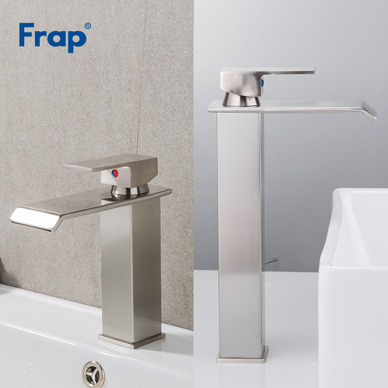 цена на Frap Square Brushed Nickel Basin Waterfall Faucet Bathroom Single Handle Mixer Tap Deck Mounted Hot Cold Water Y10144/Y10146
