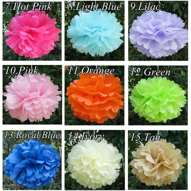 Wedding Decoration Events 5 pcs 20 25 30 cm Pom Pom Tissue Paper Pompom Ball Party Supplie Baby Shower Birthday Garland