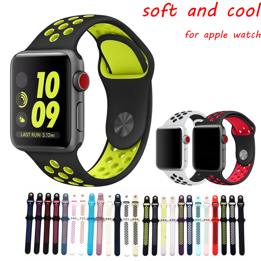 Sport band for apple watch 3/2/1 42mm/38mm strap silicone wrist bracelet belt rubber watchband for iwatch Nike/Hermes/Edition sport silicone strap case for apple watch band 42mm 38mm bracelet nike watchband protective case for iwatch 3 2 1 wrist belt