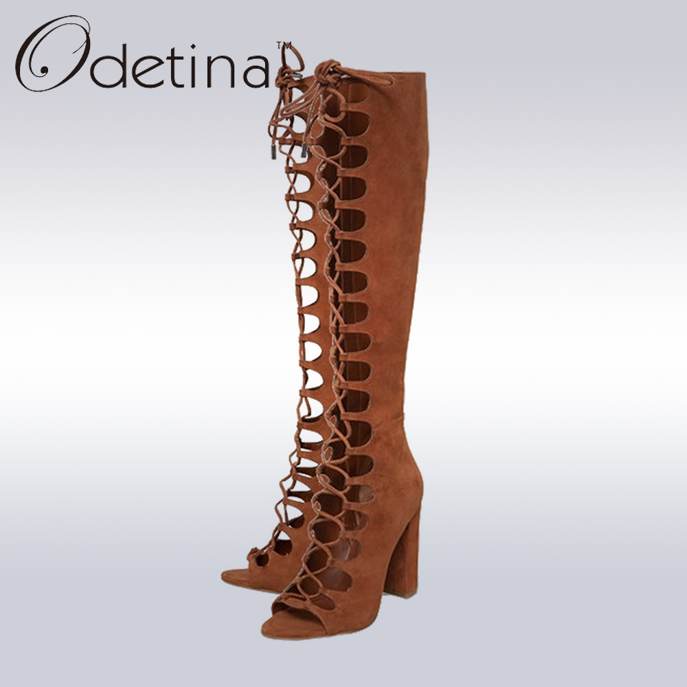 Odetina 2017 Brand Fashion Women Summer High Heels Gladiator Sandals Boots Cut-outs Peep Toe Lace Up Knee High Boots Cross Tied