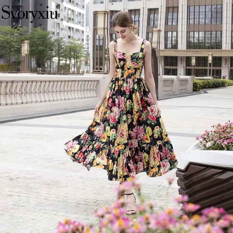 Svoryxiu Runway Designer Spaghetti Strap Long Dresses Women s Floral Print Elegant Beach Party Dress Summer