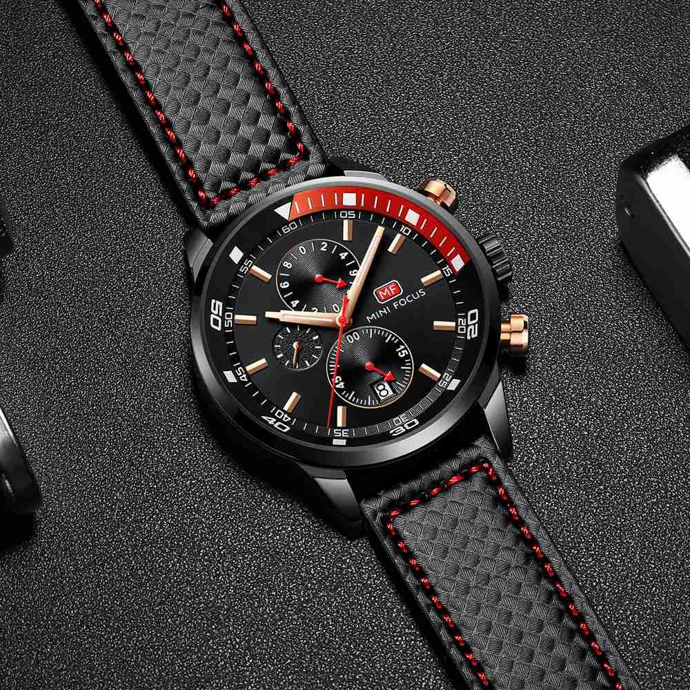 MINIFOCUS Top Brand Luxury Men Watch Fashion Business Leather Wrist Watches Black Blue Coffee Sport Male Clock For Gentleman in Quartz Watches from Watches