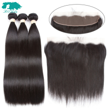 Allrun 2/3 Bundles With Closure Lace Frontal Brazilian Straight Hair Bundles Non-Remy Hair Extensions Natural Color