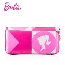 Barbie Women Wallets Vintage Women Geometric Design Wallet Long Style Sweet Female Purses Zipper Ladies Cards Bag