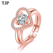 2019 Fashion Heart-shaped Open Ring Fashion Creative Silver Jewelry Love Two-in-one Ring Women Glamour Jewelry