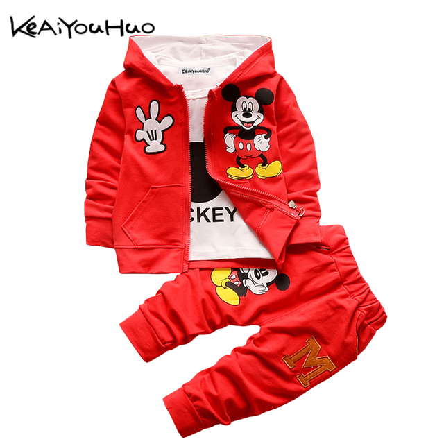 096cf9eb1 Autumn Winter Boys Girls Clothes Set Cartoon Mickey Mouse Hooded ...