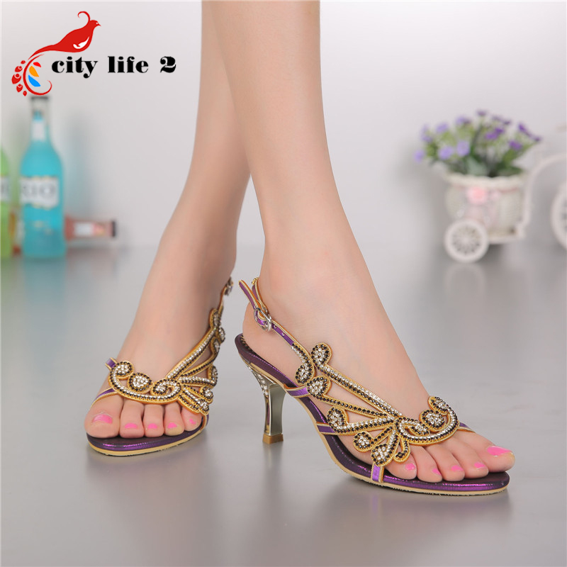 Rhinestone Sandals Hot Selling 2015 Summer European Style Leather Zapatos Mujer Strap Sexy Shoes Rome Buckle