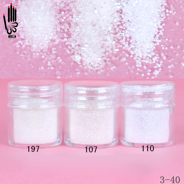 1 банка для ногтей/коробка 10 мл для дизайна ногтей разноцветный белый блеск для ногтей тонкий порошок для украшения ногтей 300 цветов для гель лака 3 40