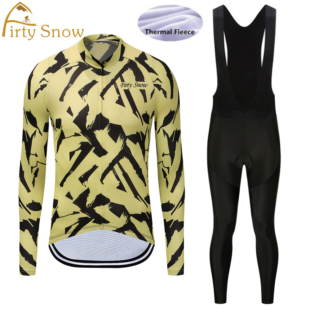 2018 Firty Snow Winter Thermal Fleece Cycling Jersey Long Sleeve Jerseys Cycling Bib Pants Set Bike Bicycle Cycling Clothes-023