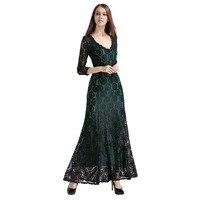 Mujer de Encaje Largo Vestido de Verano Vestido Ocasional Atractivo 2016 Verde del REINO UNIDO elegante Señora Prom Partido Del Vestido vestido Maxi Vestidos de Noche de Tamaño Grande