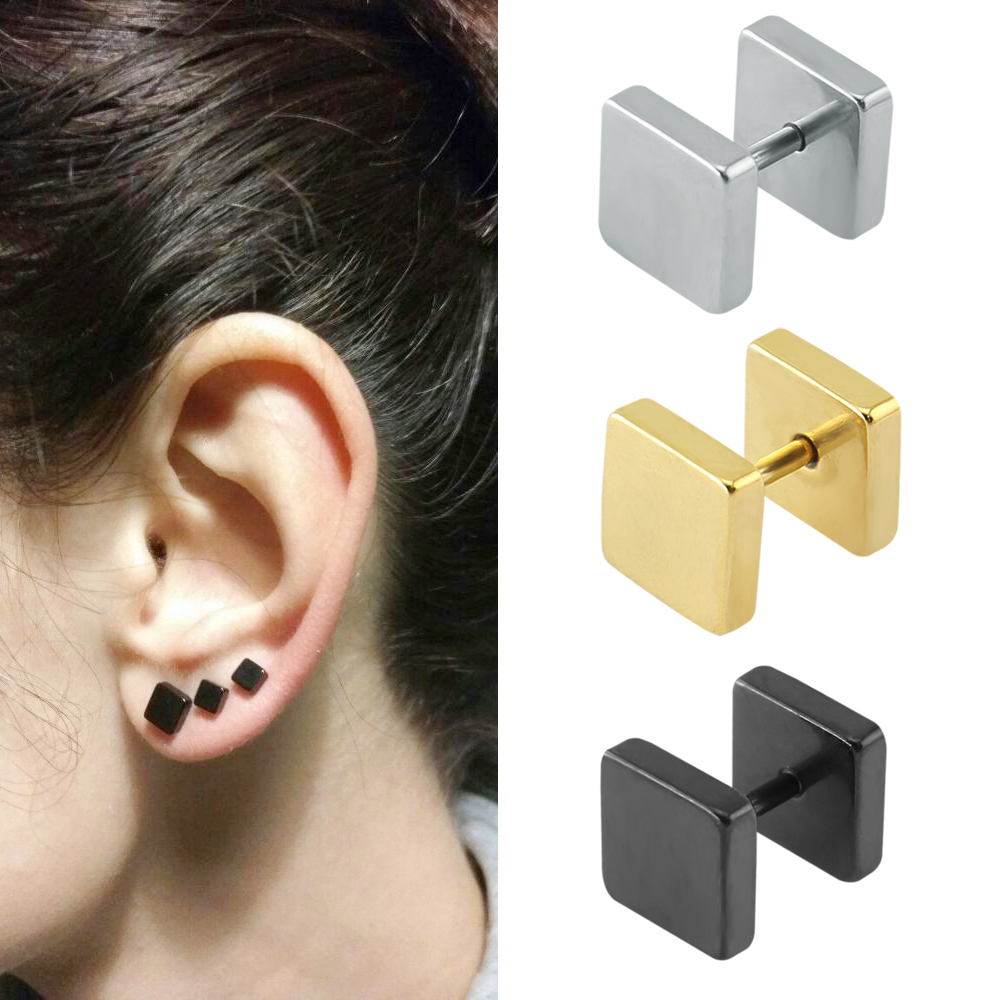 Punk Fashion 2-10 mm Square Ear Stud Örhängen Gothic Style Fake Tunnel Plug Earlobe Piercingar Kirurgisk Stålbrusk Öron Stud