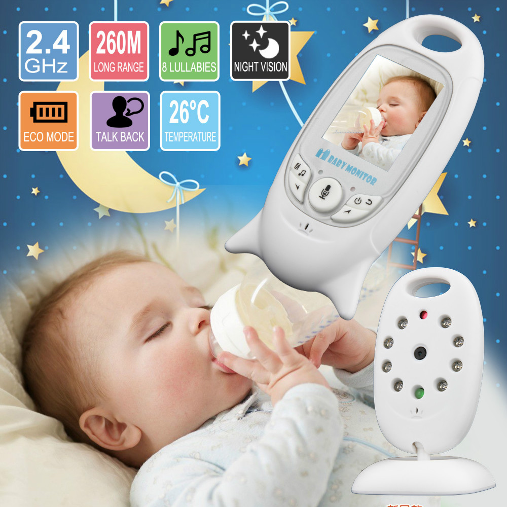 Baby Sleeping Monitor Färg Video Trådlös Baby Monitor Baba Electronic Security 2 Talk Nigh Vision LED Temperaturövervakning