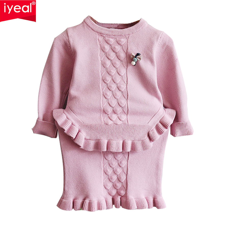 IYEAL Girls Dress 2018 New Fashion Long Sleeve Knitted Sweater With Mini Fishtail Skirt Kids Baby Clothes Sets Top Coat+ Skirt girls knitted dress sets children turtleneck long sleeve sweater suspenders two piece dress sets kids casual dress suits