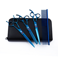 Dog Grooming Scissors Set 7.0 Professional Pet Cat Hair Cutting Curved Thinning Shear with Comb Hairdressing Scissors