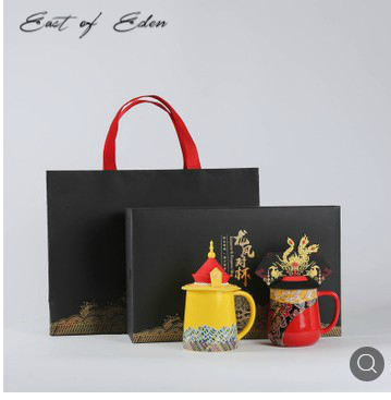 East of Eden New Dragon and Phoenix Cup Gift Dragon and Phoenix Mug Chinese Style Gift Emperor Queen Creative Cup-in Mugs from Home & Garden    1