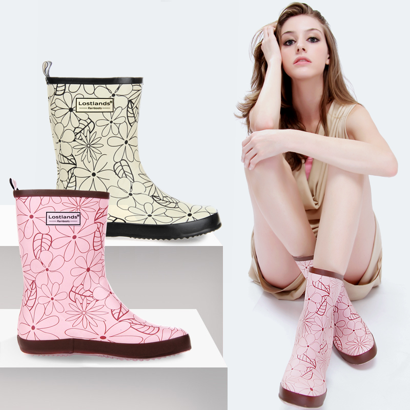 womens fashion print mid-calf rain boots rubber boots waterproof wear antiskid pink and colours white rain gear for women ольга трифонова последняя любовь эйнштейна