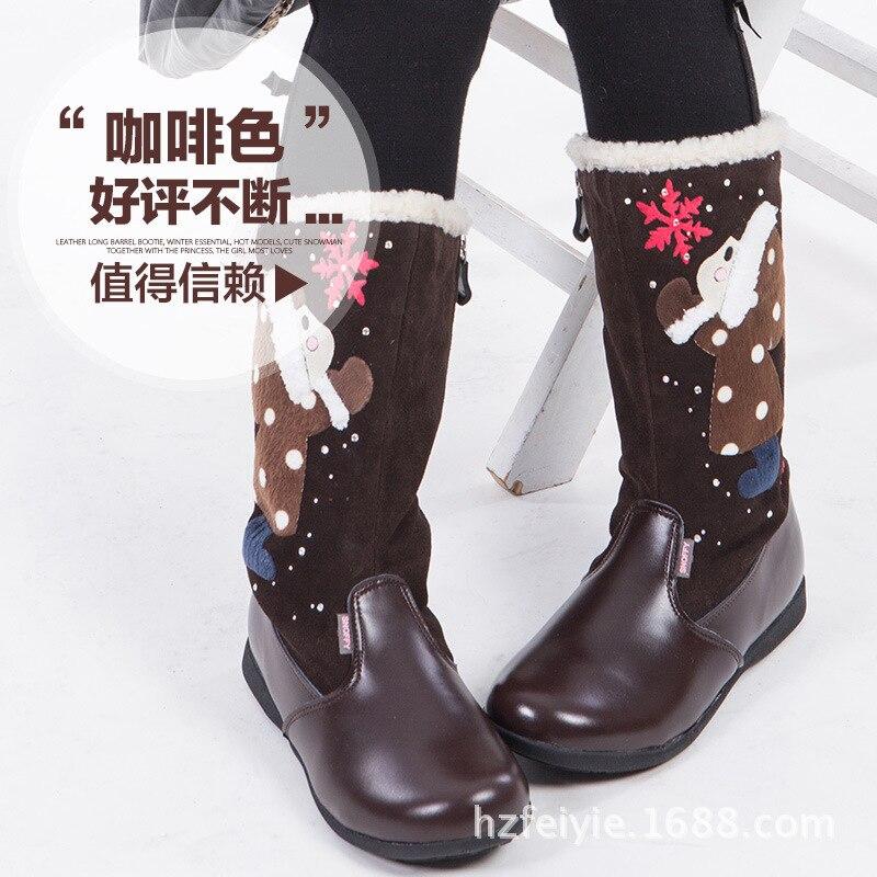 Bottes en cuir de haute qualité pour enfants du père noël, chaussures de bébé confortables antidérapantes super chaudes bottes de fille - 4