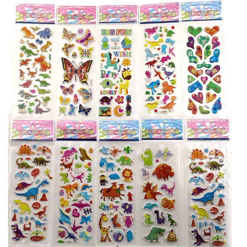 10pcs Different 3D Cute Stickers Funny Toy For Kids On Scrapbooking Phone Laptop Gifts Dinosaur Butterfly Office School Supplies
