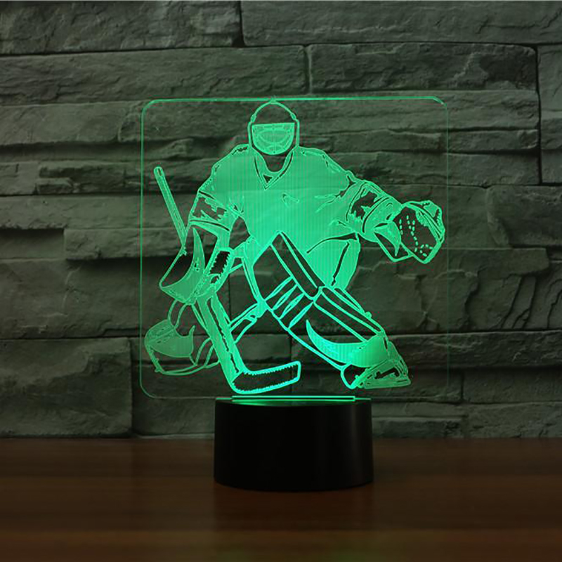 3D Ice Hockey Goalie Modelling Table Lamp 7 Colors Change LED NightLight USB Bedroom Sleep Lighting Sports Fans Gifts Home Decor 3d luminous ice hockey player shape led table lamp 7 colors changing home living room decor light fixture baby sleep night light