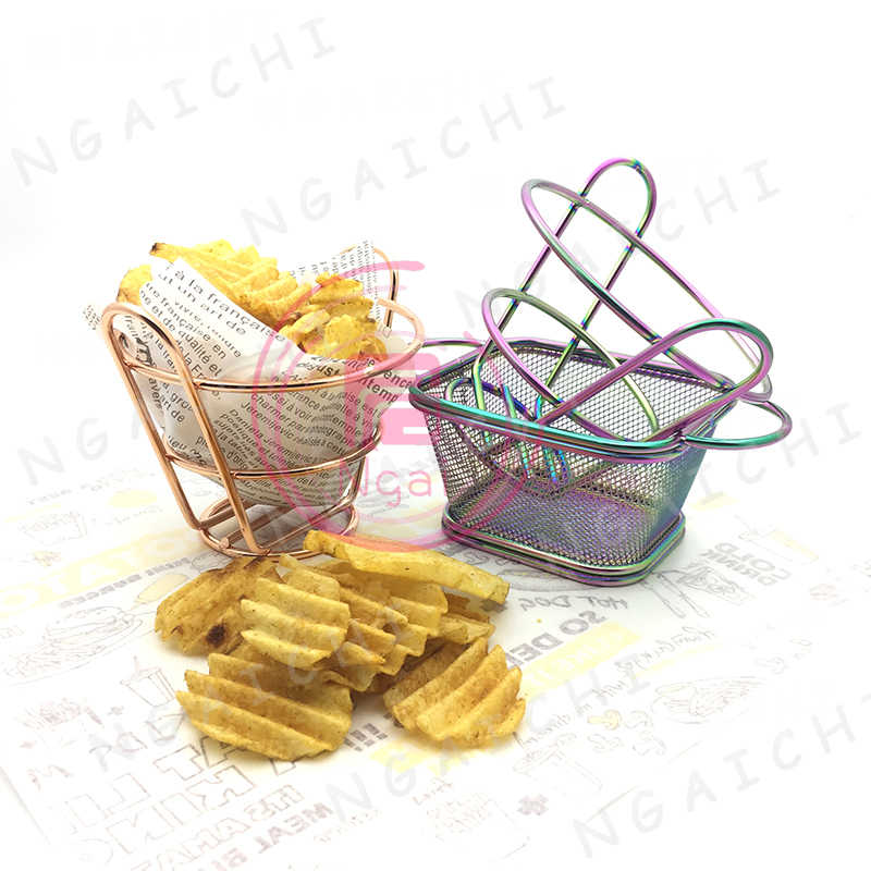 Rainbow French Fries Baskets Stainless Steel Fast Food Trays Restaurant Bread Fries Food Serving Baskets Western Food Container