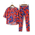 Fashion Summer Pant Set Women Suit Two-piece Suits Female Trouser Sets Chiffon Red Twin 2 Piece Elegant Floral Tracksuit FF40