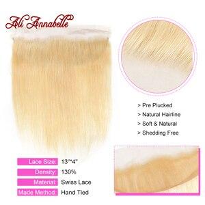 Image 4 - Ali Annabelle 613 sarışın demetleri ile Frontal brezilyalı düz demetleri ile kapatma sarı insan saçı 613 demetleri ile Frontal