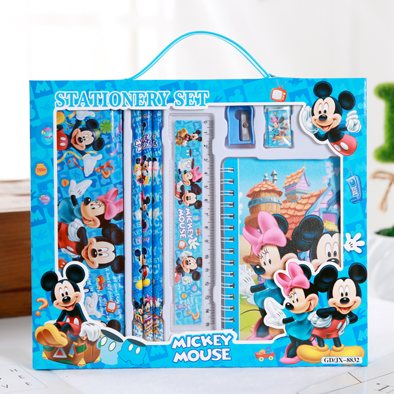 8pcs/set cartoon mickey stationery set novelty cute students study school supplies children back to school kids high quality set factors contributing to indiscipline among high school students
