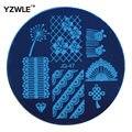 Yzwle 1 unids placa de acero inoxidable imagen placas estampación sello DIY plantilla de manicura esmalte de uñas herramientas ( JQ-47 )
