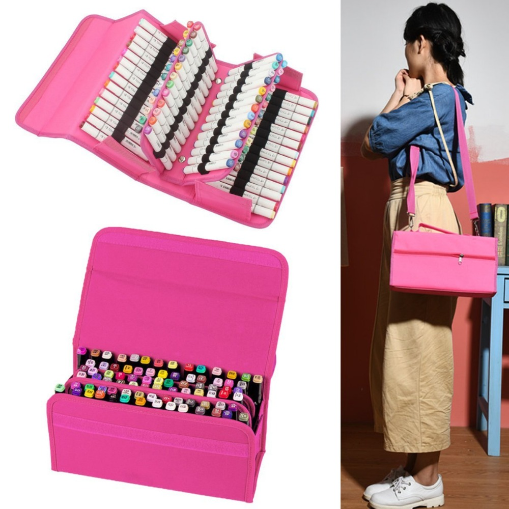 80 holes High Quality stationery Art Markers pens bag Painting box set Large Capacity Pencil Case School office Gift good quality 36 48 72 holes canvas pencil case roll up sketch painting pen box school office pencil stationery bag b066
