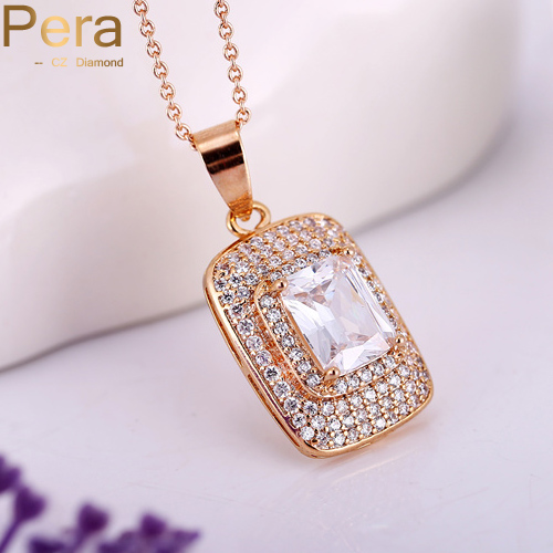 Pera African Women Necklace Classic Gold Color Square Cubic Zirconia