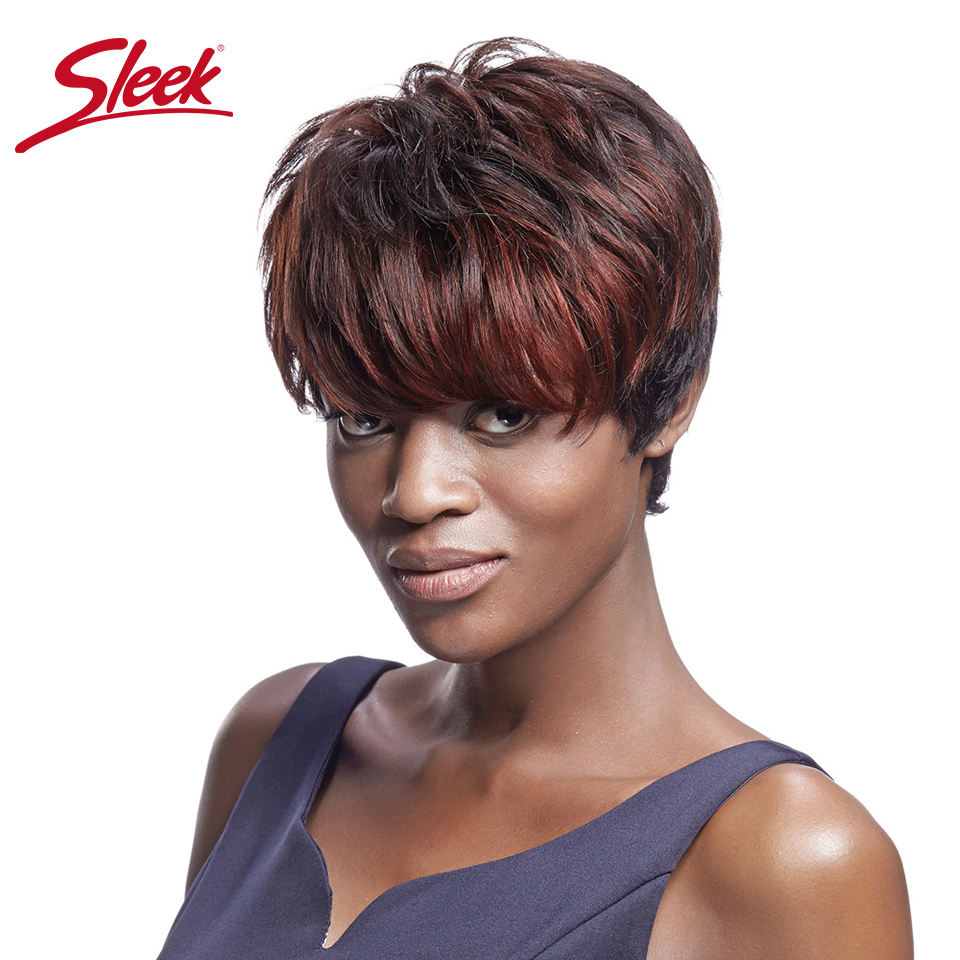 Sleek Colored Human Hair Wigs For Black Women Wavy Wig With Bangs Remy Brazilian Short Human Hair Wig Perruque Cheveux Humain