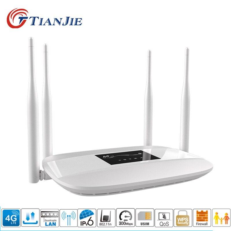 TIANJIE débloqué 3g 4g maison 4 antennes carte sim routeur modem 4g wifi hotspot 4g lte CPE wifi routeur 4g routeur avec sim card slot