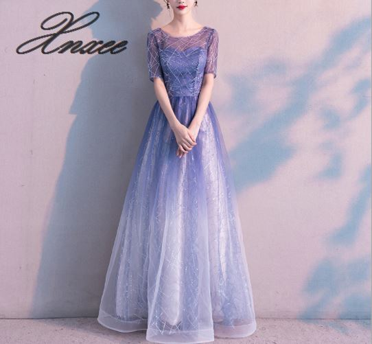 2020 new self-cultivation starry blue gradient lace party dress female
