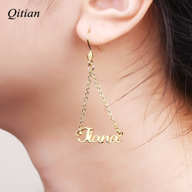 Personalized Name Drop Earrings Customize Namplate Id Dangle Earring For Women High Quality Stainless Steel Jewelry
