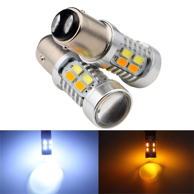 2pcs High Power 1157 BAY15D Dual Color Switchback 20 SMD 5730 LED Tail Brake Bulbs