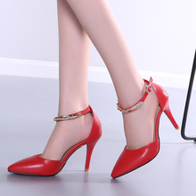 Laidies snow white pointed toe strappy red bottom high heels Fashion women's summer party sandals big women wedding shoes H-2
