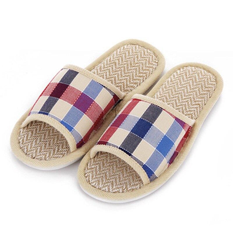 Hot Sale font b Tartan b font Design Lovers Sandals Summer Indoor Slippers Flat Cany Mat
