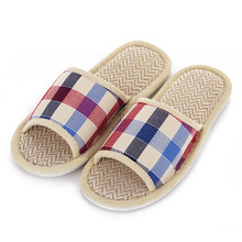 Hot Sale Tartan Design Lovers Sandals Summer Indoor Slippers Flat Cany Mat Linen Slippers Shoes Breathable Plaid Men Women Shoes