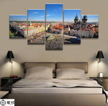 Hot Sales Without Frame 5 Panels Picture City Church Square Scenery Painting Artwork Wall Art Canvas Wholesale
