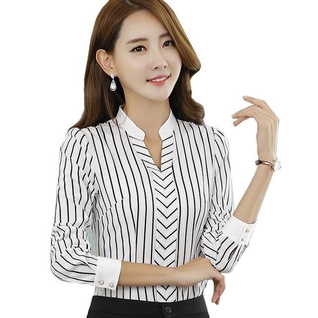 e068117f565 Fashion Business stripe V-neck blouses women elegant slim formal long  sleeve chiffon shirt office ladies plus size work wear top