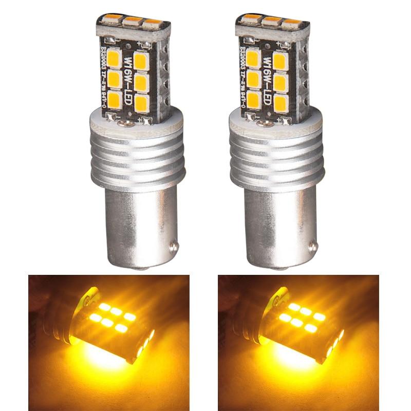 New Reminding Signal Yellow Light Bulb 2pcs Amber Yellow 1156 BA15S 15W High Power LED Backup Turn Signal Light HR