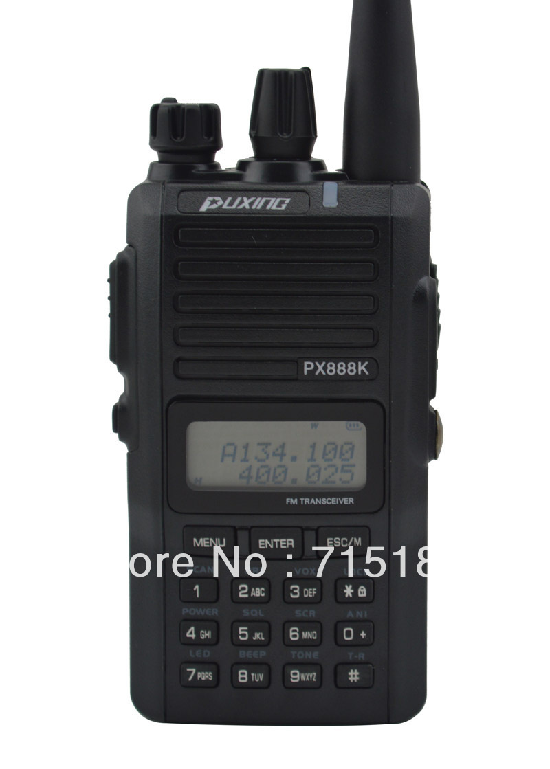 Black Color PUXING PX-888K Dual Band VHF&UHF Professional FM Transceiver 5w 128CH Scanner Radio PX 888K Walkie Talkie