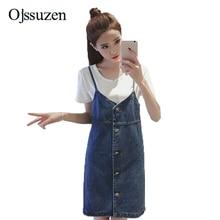 Fashion Button Womens Denim Skirt Overalls Elegant Susperders Overalls Female Straight Jeans Jumpsuits For Ladies Blue