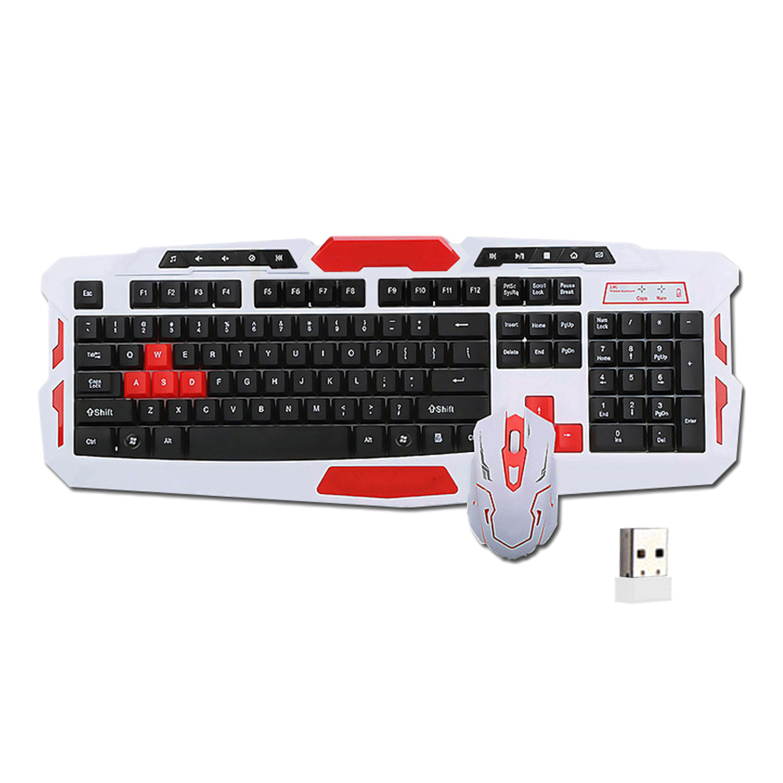NOYOKERE Wireless Set Tastiera e Mouse USB 2.4 Ghz 1600 DPI Gaming Mouse Gamer Impermeabile Multimediale per Computer PC desktop
