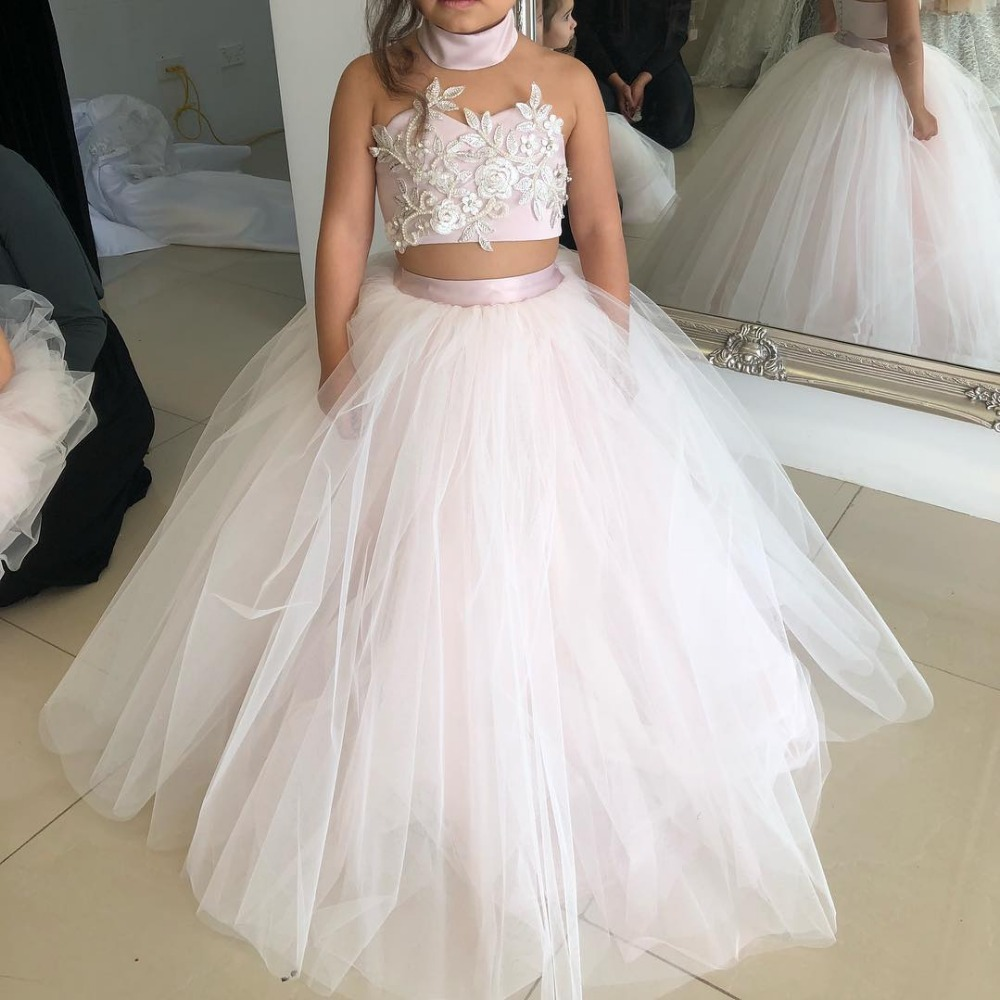 Pink Flower Girl Dresses For Weddings Ball Gown Halter Tulle Lace Pearls Long First Communion Dresses For Little Girls