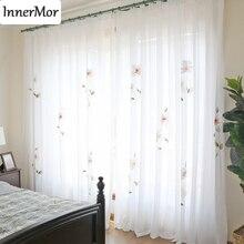 Innermor 프랑스 거실 용 페인트 커튼 침실 용 손으로 그린 고귀한 커튼 주방용 우아한 얇은 명주 그물