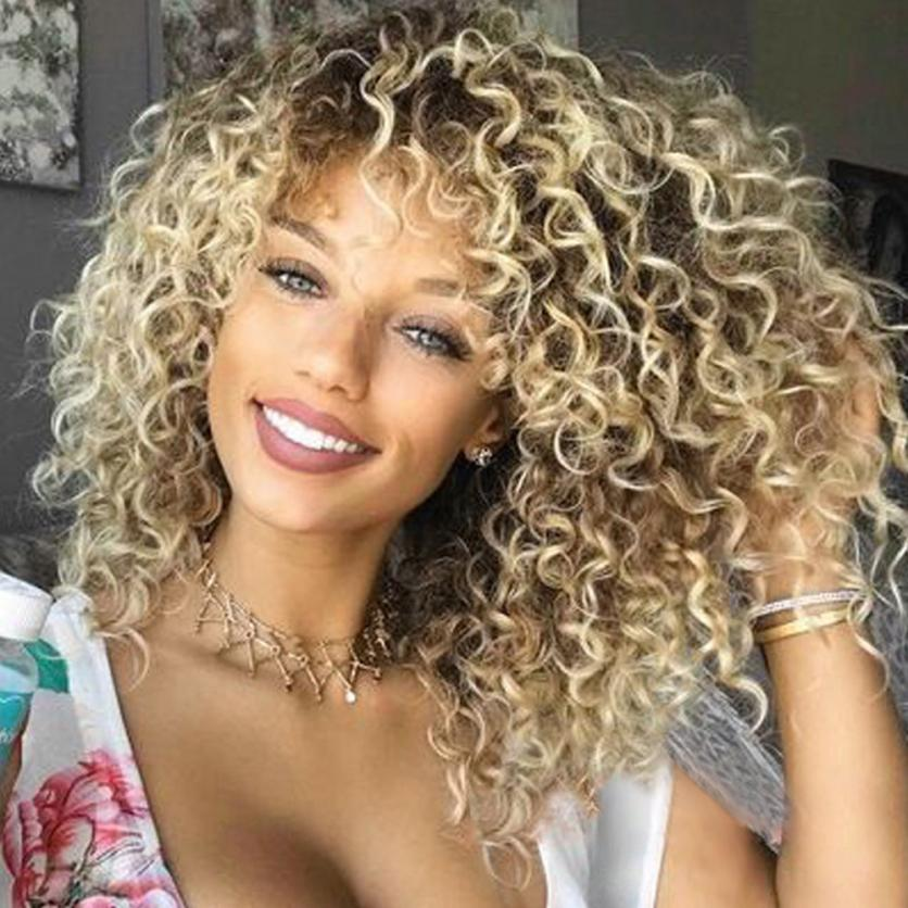 Fashion Blonde Kinky Curly Wig Afro American Wigs Soft Synthetic Wig for Women 0621