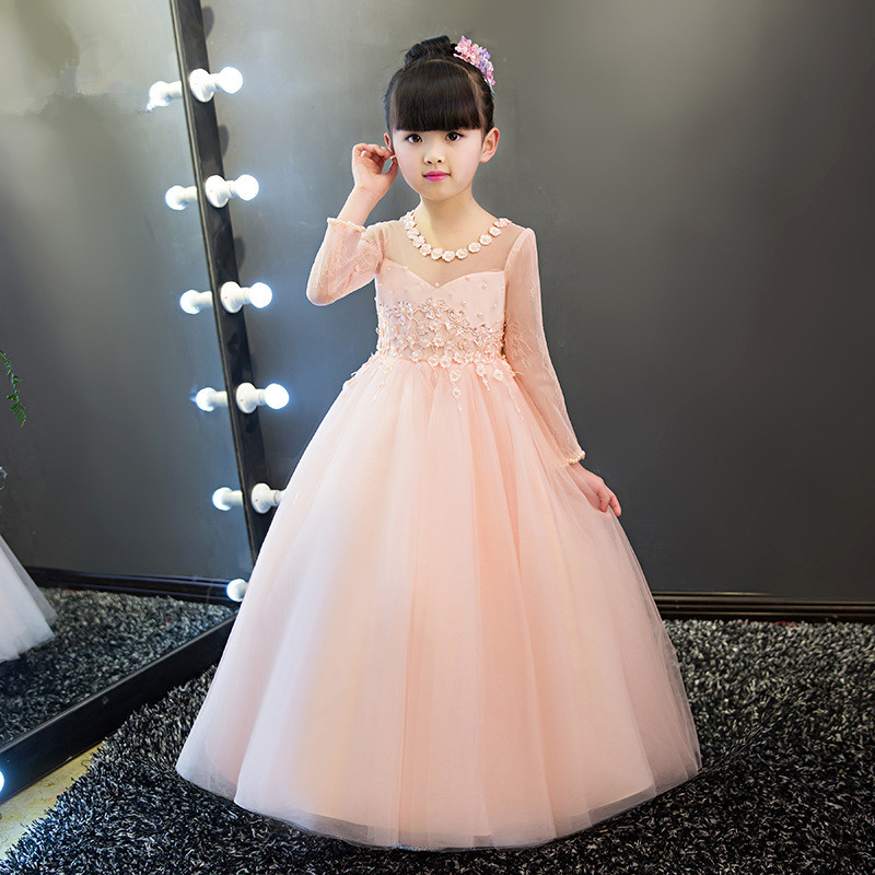 Elegant pink tulle sequin girls wedding dress ankle length for Ankle length wedding dress with sleeves